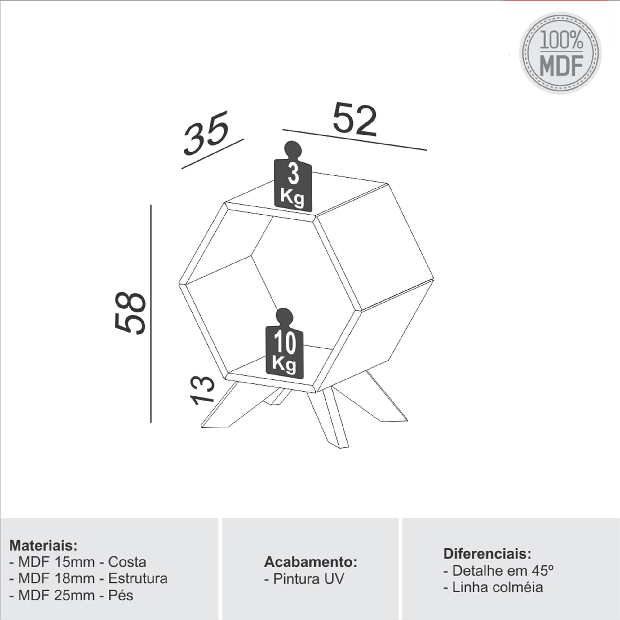 Mesa Lateral Hexagonal Dolce cor Carvalho - 56365