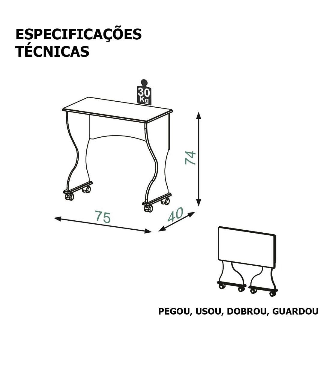 Mesa Dobravel Baronesa Cor Carvalho - 56253