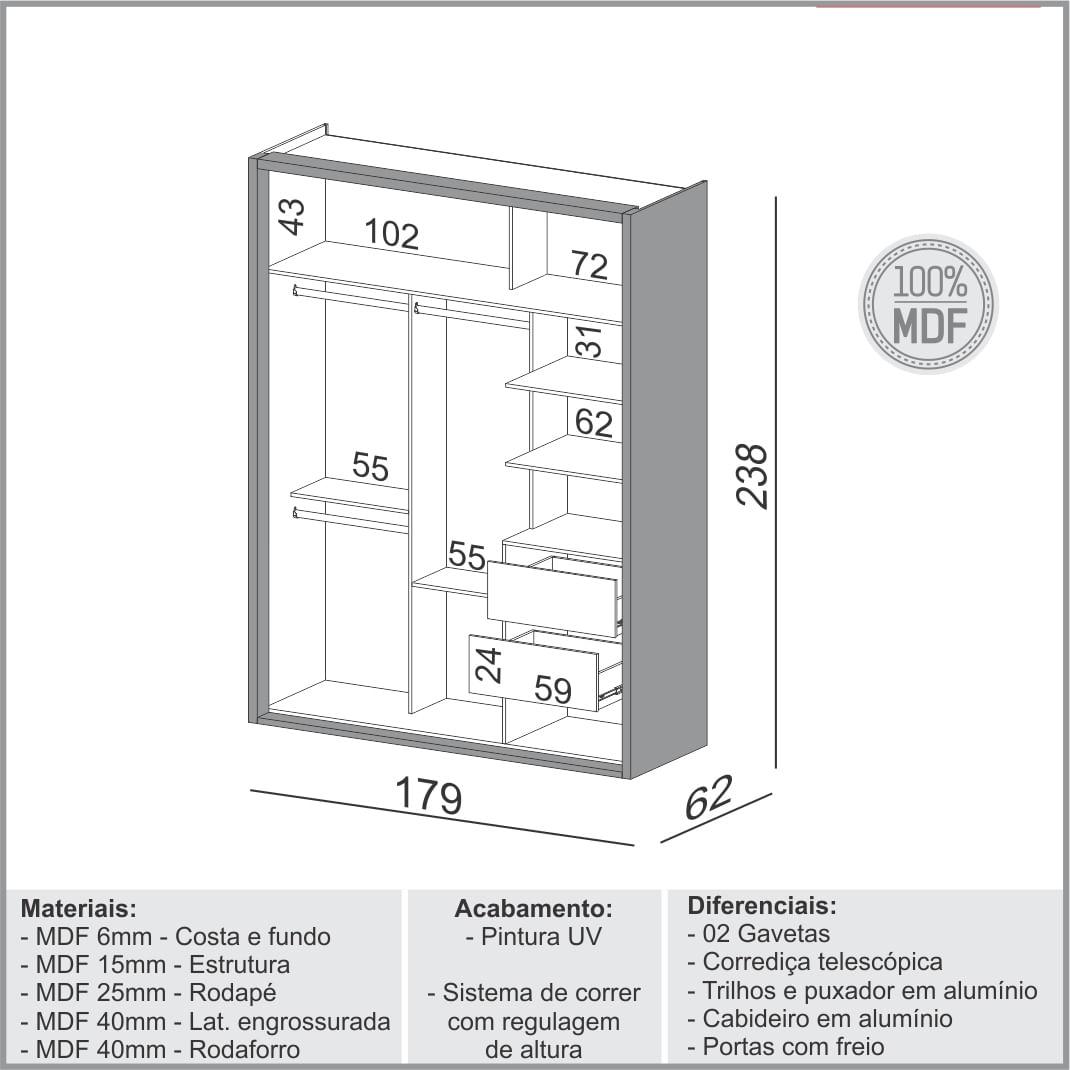 Armario Premium com 2 Portas e 2 Gavetas cor Freijo com Off White Brilho 1,79 MT (LARG) - 56452
