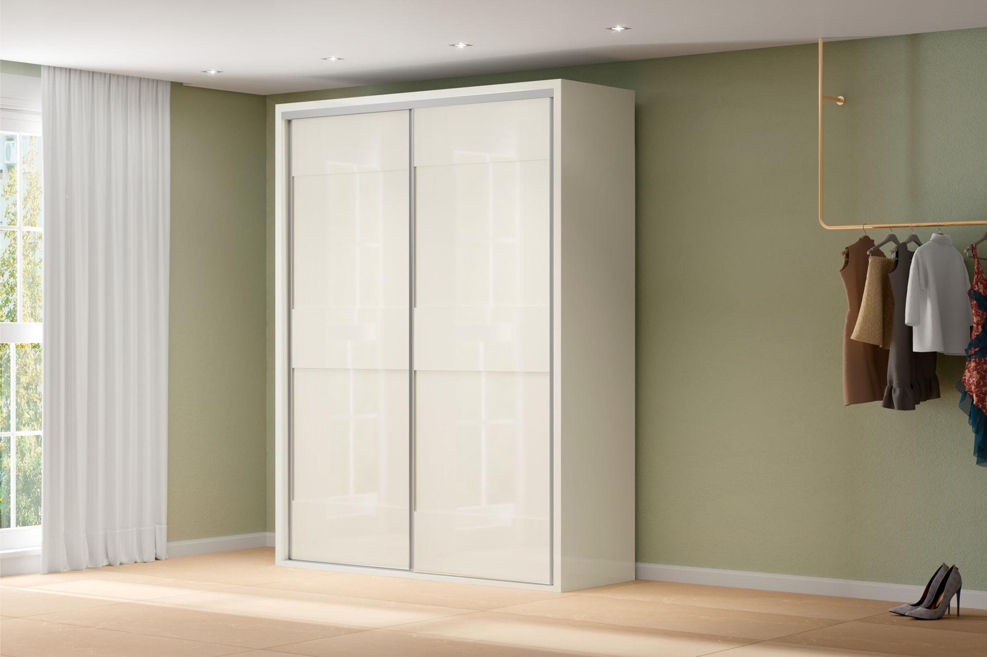 Armario Premium com 2 Portas e 2 Gavetas cor Off White 1,79 MT (LARG) - 56453