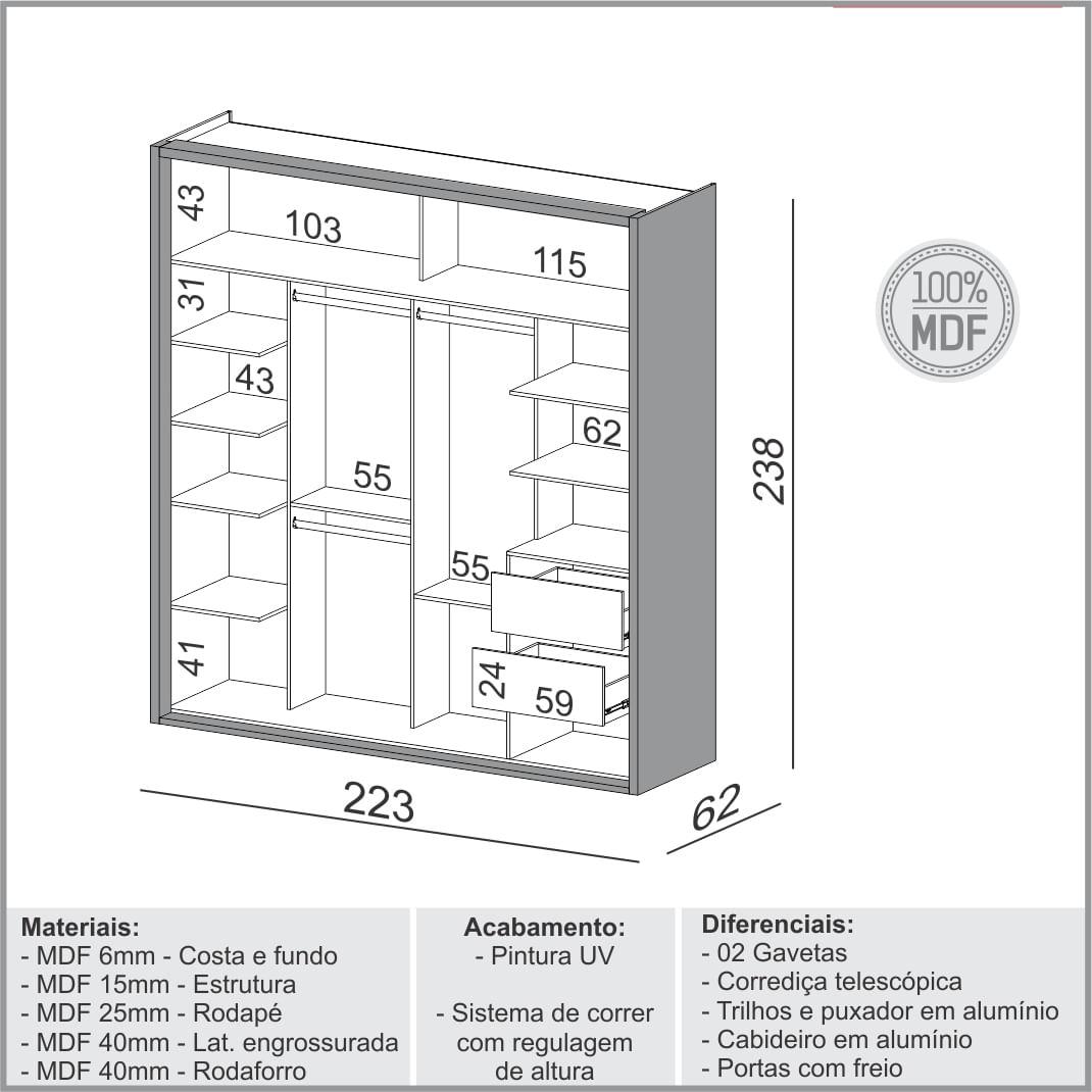 Armario Premium com Espelho 2 Portas e 2 Gavetas cor Freijo com Off White Brilho 2,23 MT (LARG) - 56458