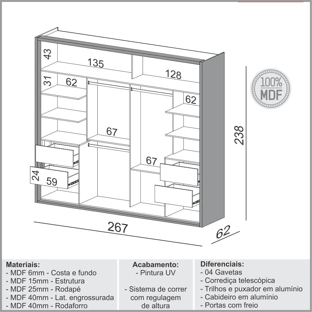 Armario Premium com 2 Portas e 4 Gavetas cor Freijo com Off White Brilho 2,67 MT (LARG) - 56158