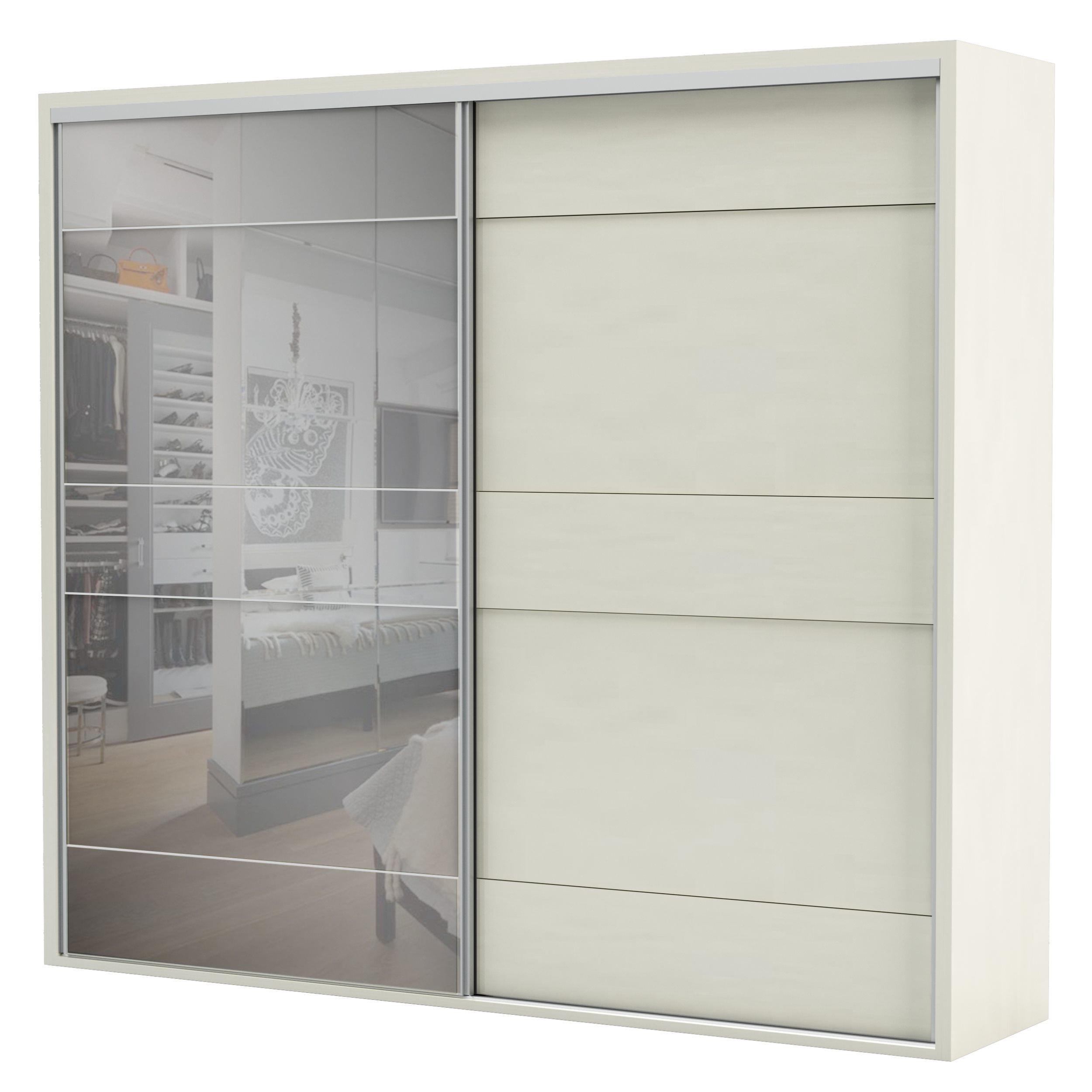 Armario Premium com Espelho 2 Portas e 4 Gavetas cor Off White 2,67 MT (LARG) - 56462