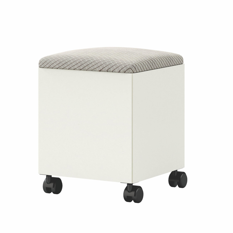 Puff com Bau Rubi cor Off White com Assento Estofado Geometrico - 56477