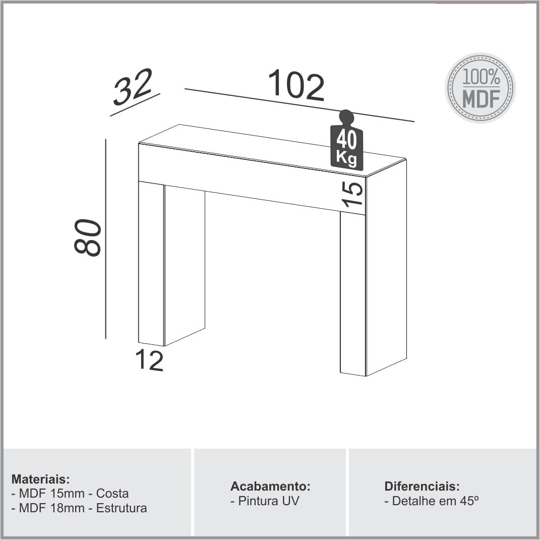 Aparador Cambuci cor Preto com Brilho 1,02 MT (LARG) - 56481