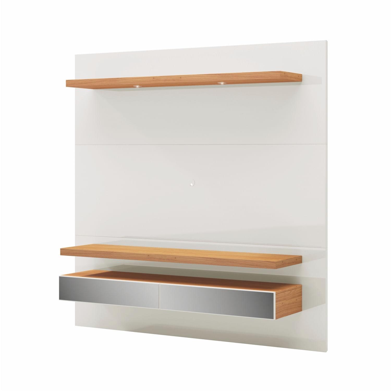 Home Suspenso Bras com Led e 2 Gavetas Espelhadas cor Off White Brilho com Freijo 1,80 MT (LARG) - 56493