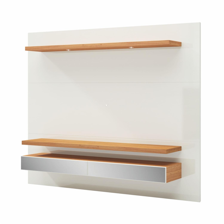 Home Suspenso Ibira com Led e 2 Gavetas Espelhadas cor Off White Brilho com Freijo 2,20 MT (LARG) - 56494
