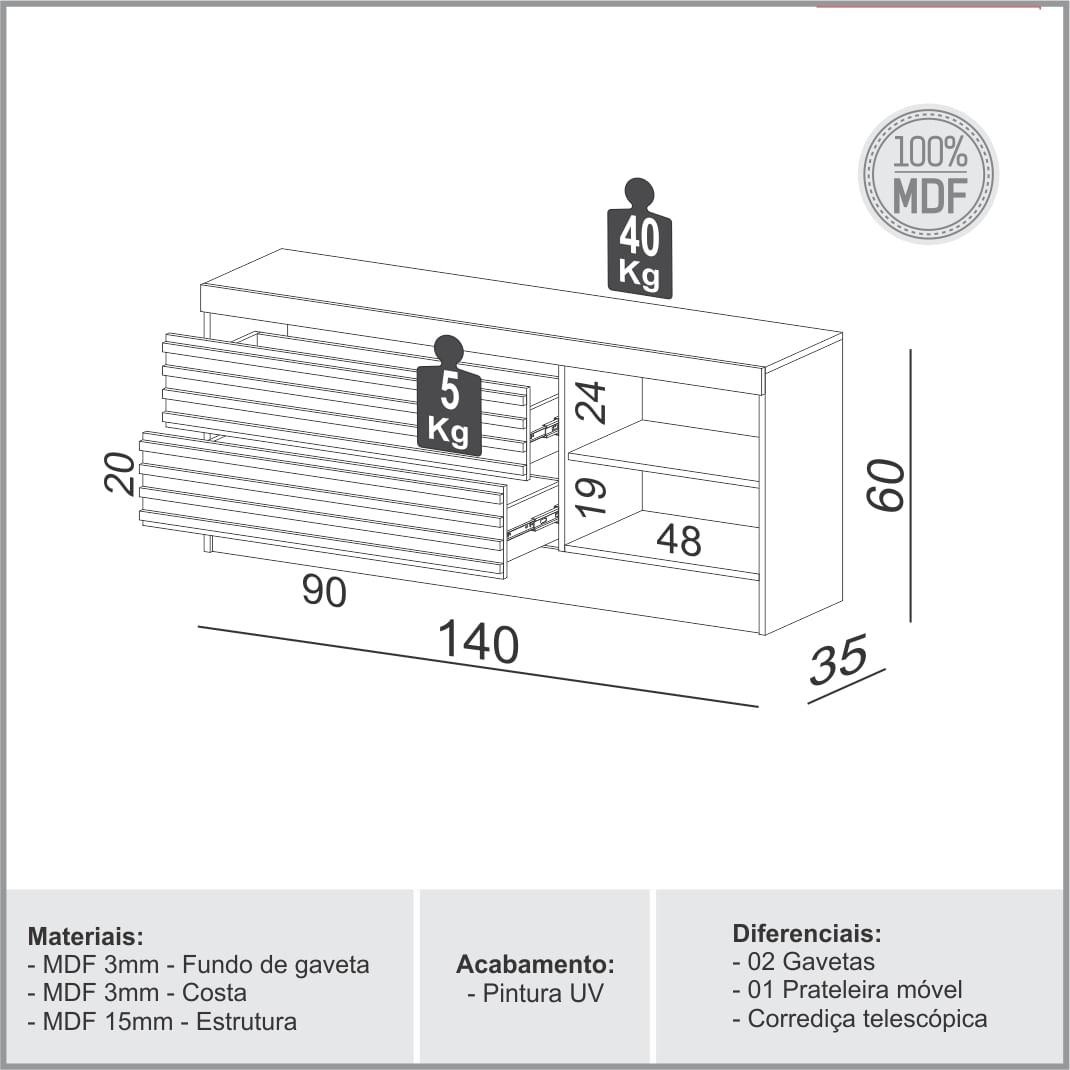 Rack Marselha com 2 Gavetas cor Off White Brilho com Freijo 1,40 MT (LARG) - 56507