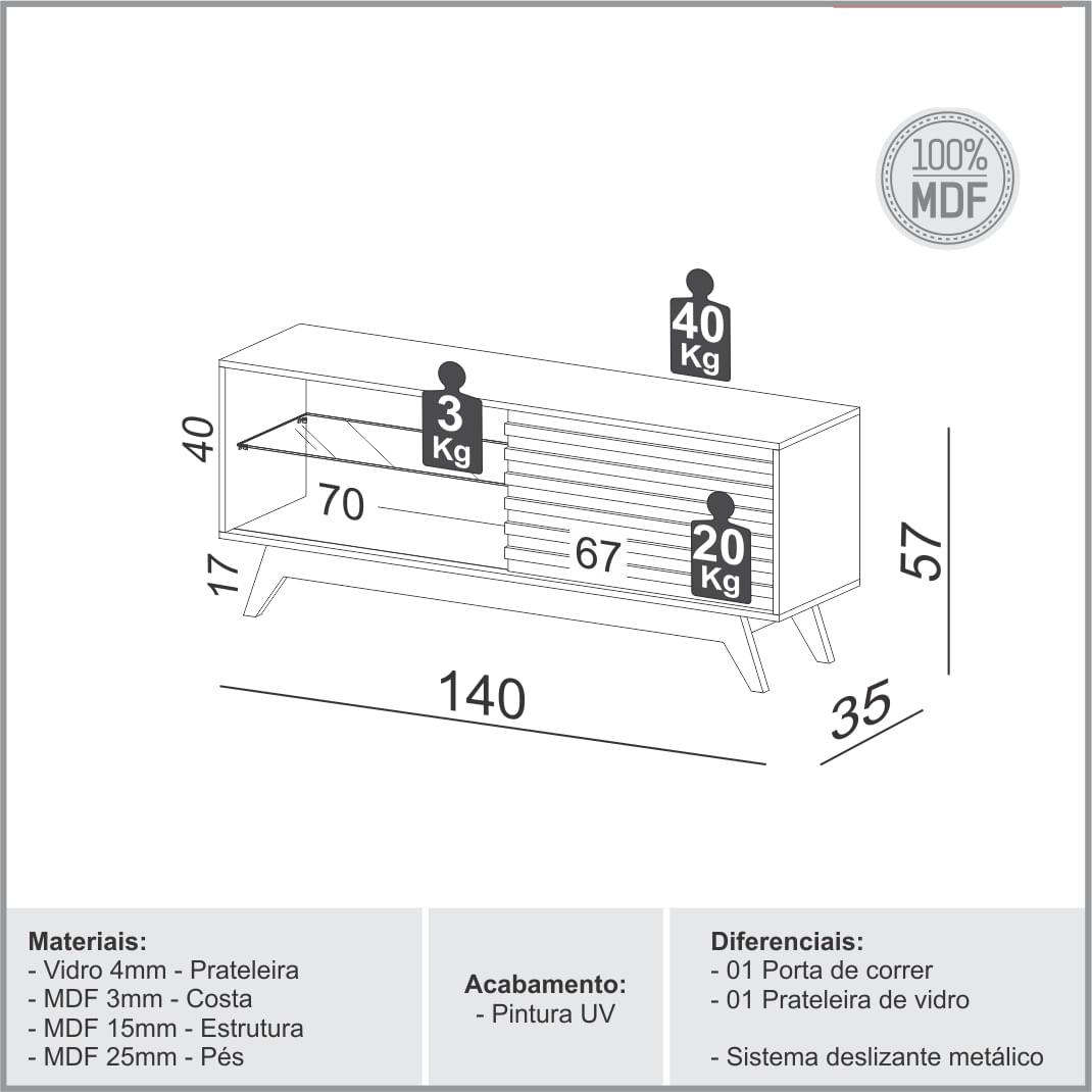 Rack Genebra com 1 Porta cor Off White Brilho com Nobre 1,40 MT (LARG) - 56512