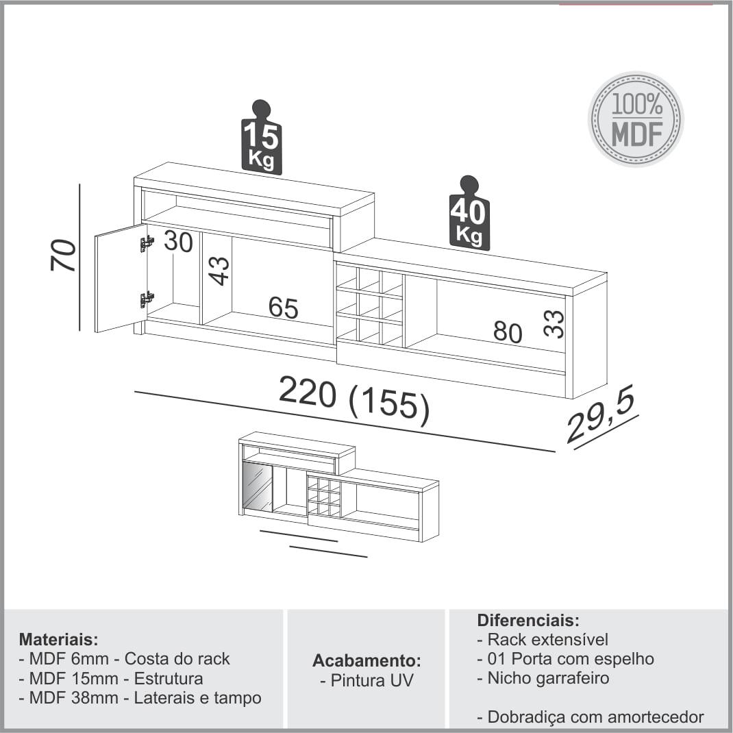Rack Extensivel Frankfurt com 1 Porta e Espelho cor Grafite com Carvalho - 56518