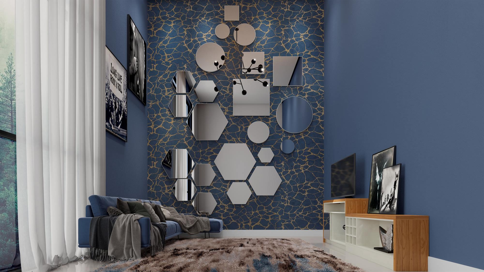 Espelho Hexagono Logus Pequeno cor Off White Brilho 35 cm (LARG) - 56527
