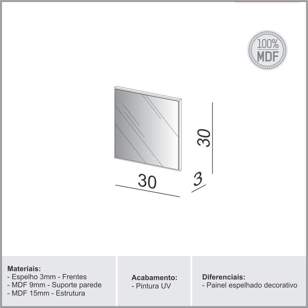Espelho Quadrado Mercury Pequeno cor Off White Brilho 30 cm (LARG) - 56529