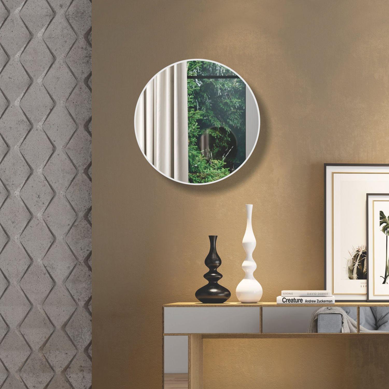 Espelho Redondo Lunes Grande cor Off White Brilho 60 cm (DIAM) - 56533