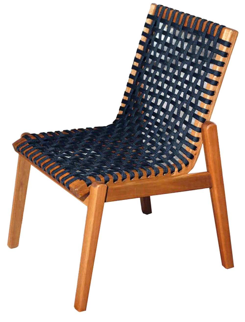 Cadeira Trama Corda Preta Estrutura Stain Jatoba 52cm - 53172