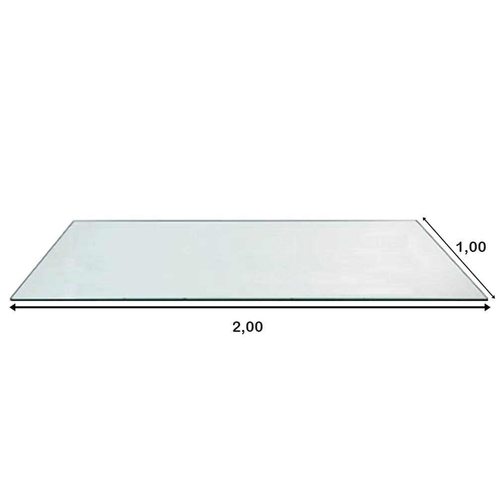 Mesa de Jantar XS com Tampo de Vidro Retangular Base Nogal 2,00 MT (LARG) - 57128