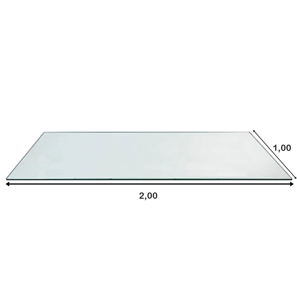 Mesa de Jantar XS com Tampo de Vidro Retangular Base Gelo Fosco 2,00 MT (LARG) - 57133