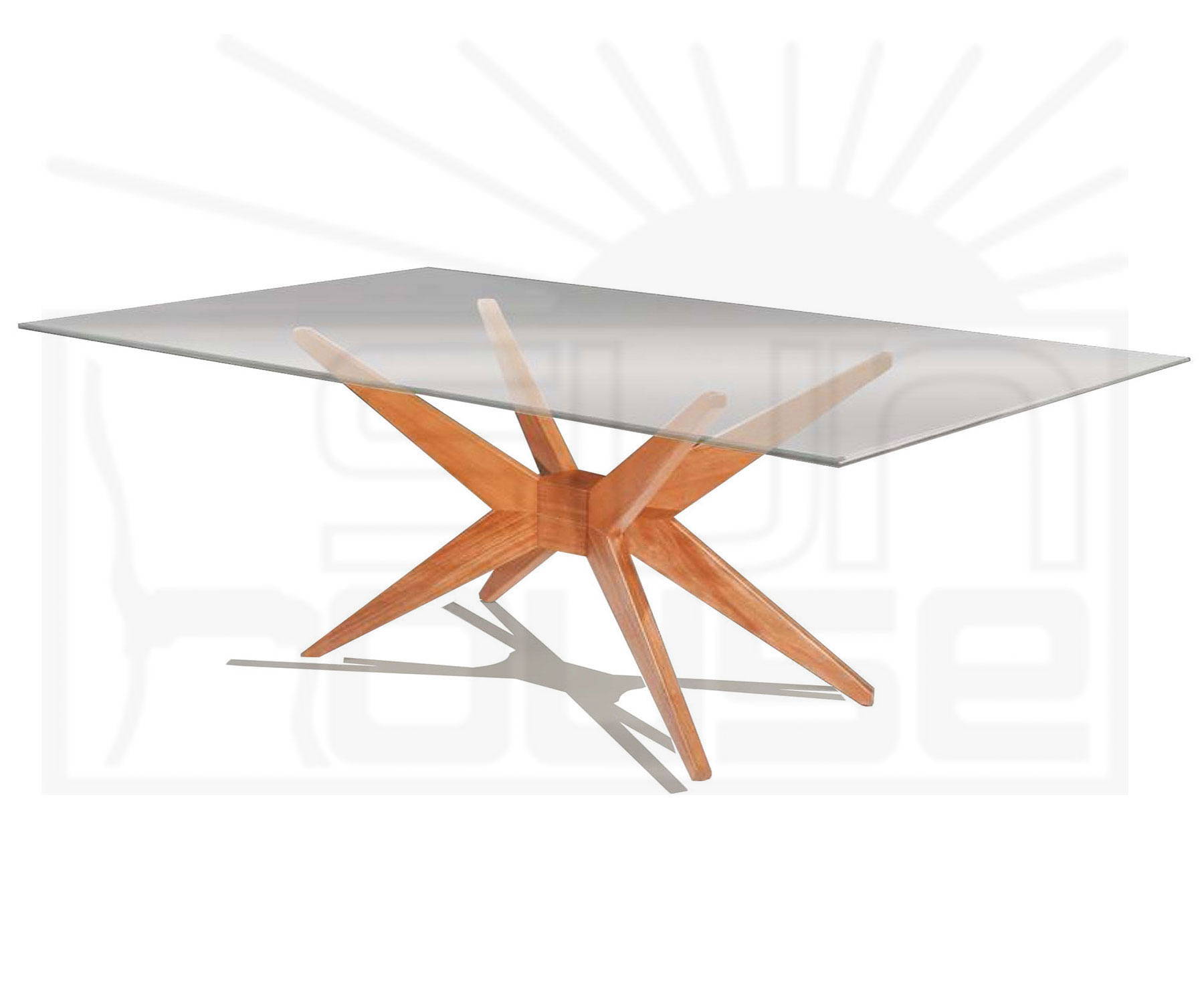 Mesa de Jantar XS com Tampo de Vidro Retangular Base Mel 2,00 MT (LARG) - 57134