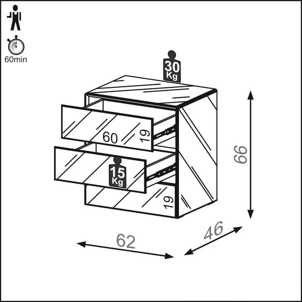 Mesa de Cabeceira Idea com Estrutura Espelhada e Rodape - 57179
