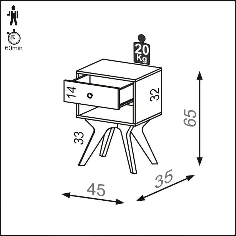 Mesa de Cabeceira Retro cor Freijo - 57181