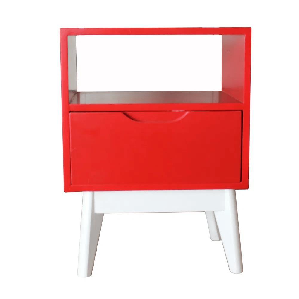 Mesa de Cabeceira ON Vermelha Base Branca - 57187