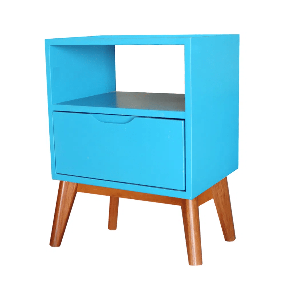 Mesa de Cabeceira ON Azul Bebe Base Madeira Pinhao - 57189