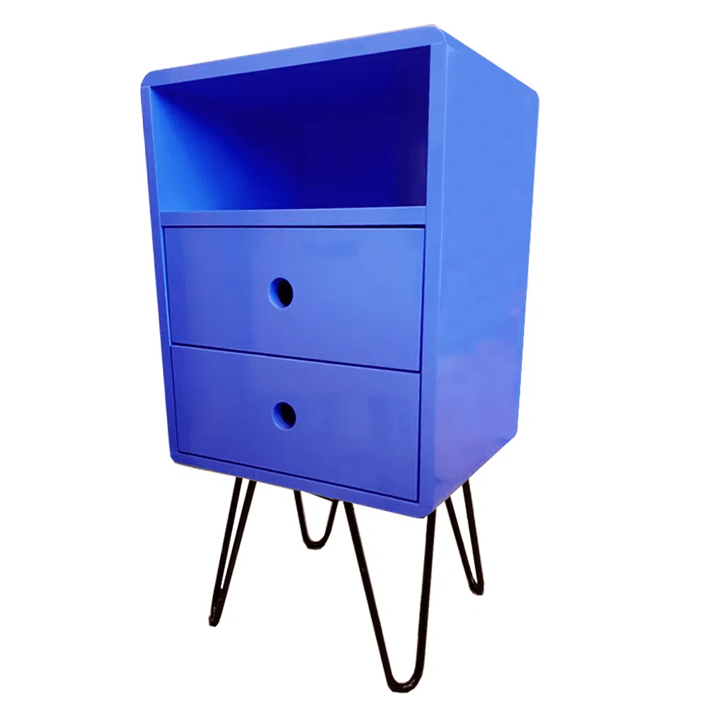 Mesa de Cabeceira Open Azul Bic Base Ferro - 57195
