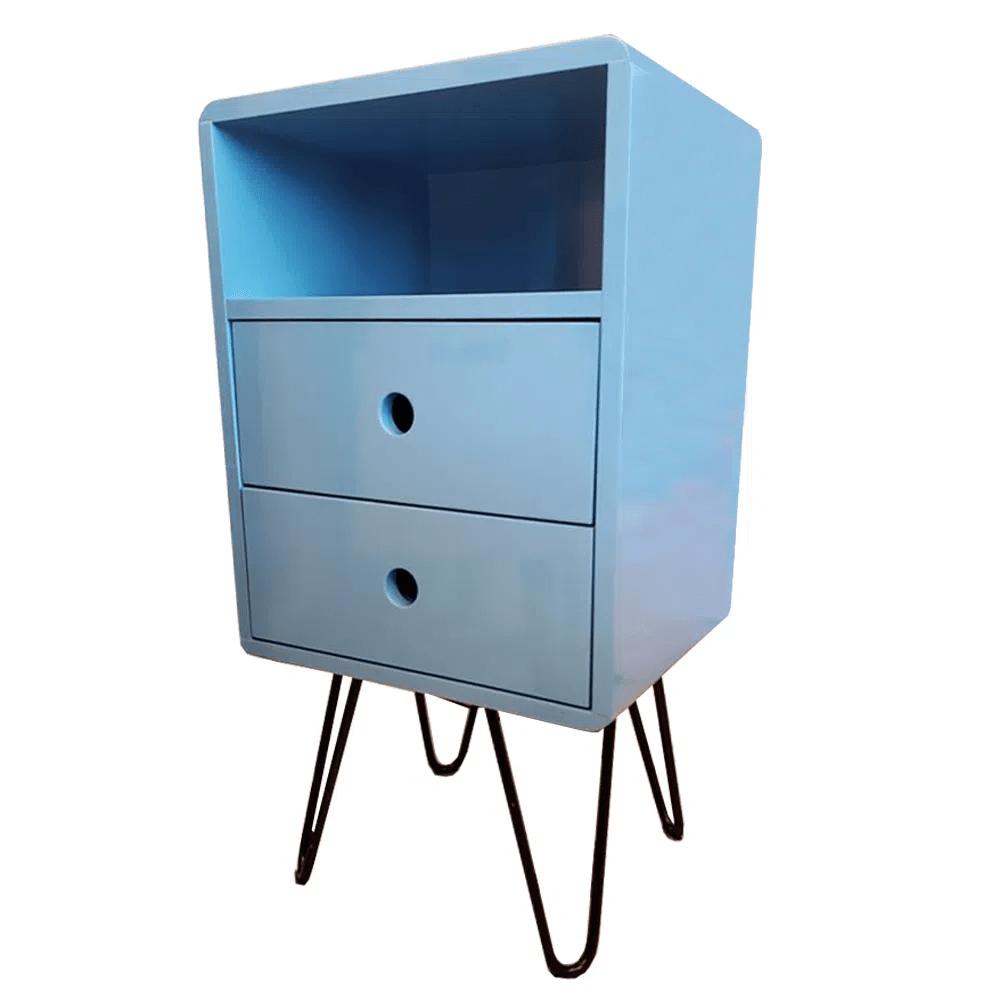 Mesa de Cabeceira Open Azul Bebe Base Ferro - 57199