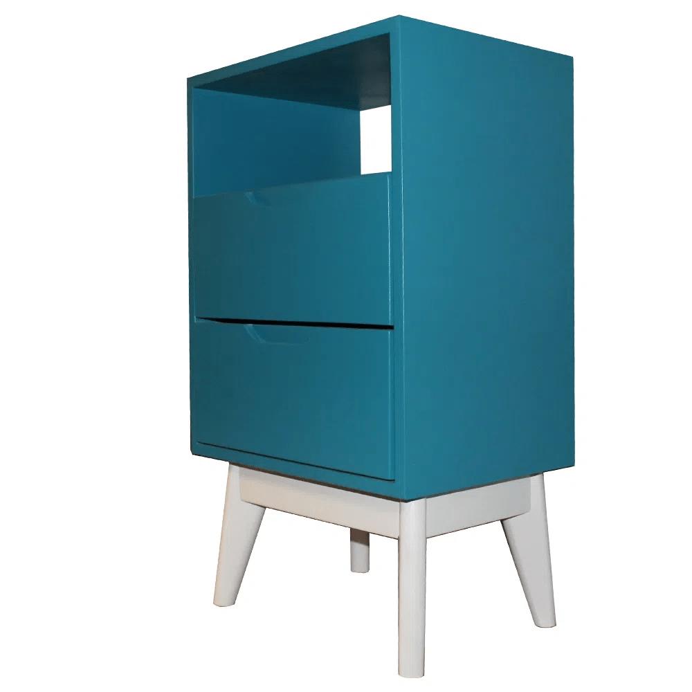 Mesa de Cabeceira ON Azul Base Branca - 57219