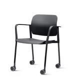 Kit-5-Cadeiras-Leaf-com-Bracos-Base-Rodizio-Preta---57336