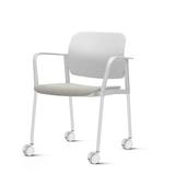 Kit-5-Cadeiras-Leaf-com-Bracos-Assento-Estofado-Branco-Base-Rodizio-Branco---57338-