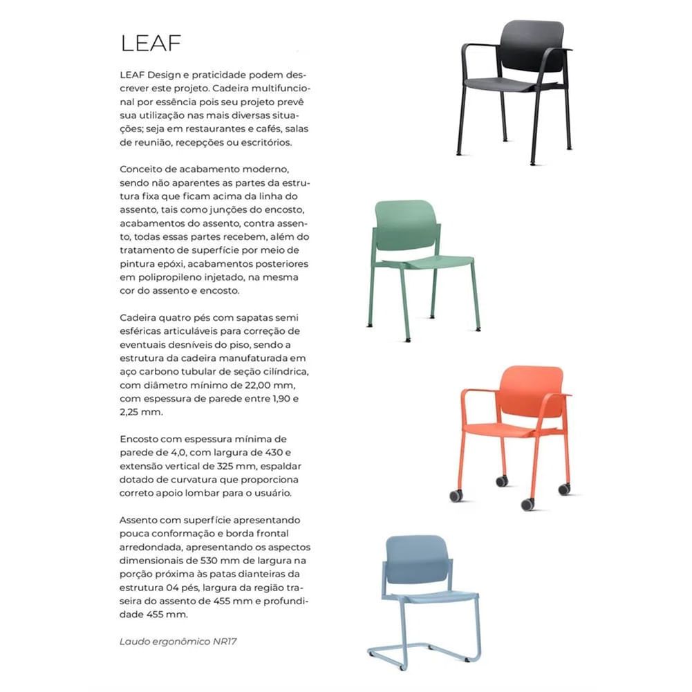 Kit 2 Cadeiras Leaf Base Rodizio Laranja - 57384