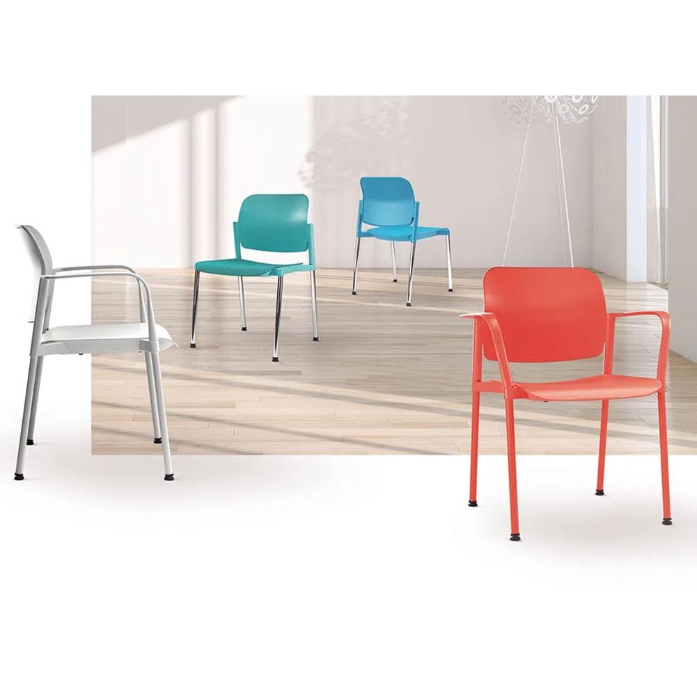 Kit 2 Cadeiras Leaf Base Rodizio Preta - 57386