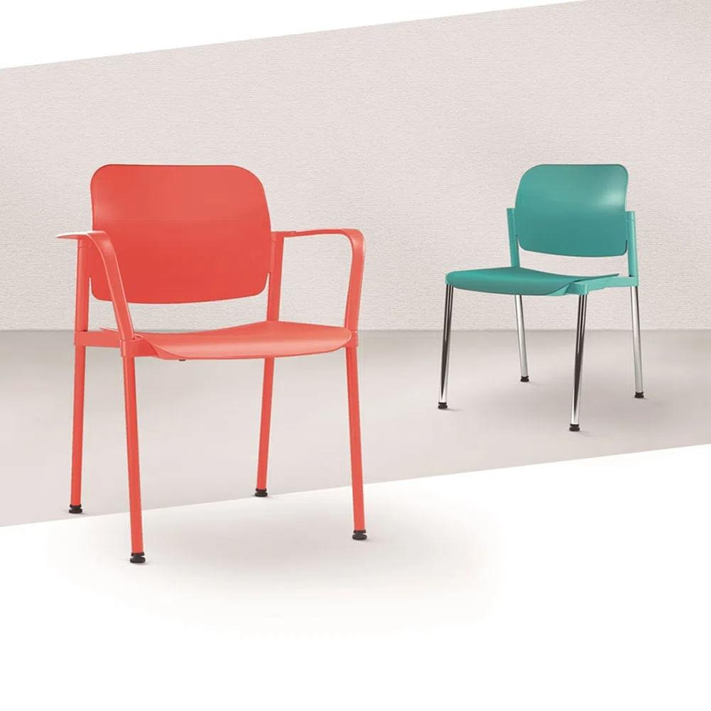 Kit 2 Cadeiras Leaf com Bracos Assento Branco Base Rodizio Cromado - 57390