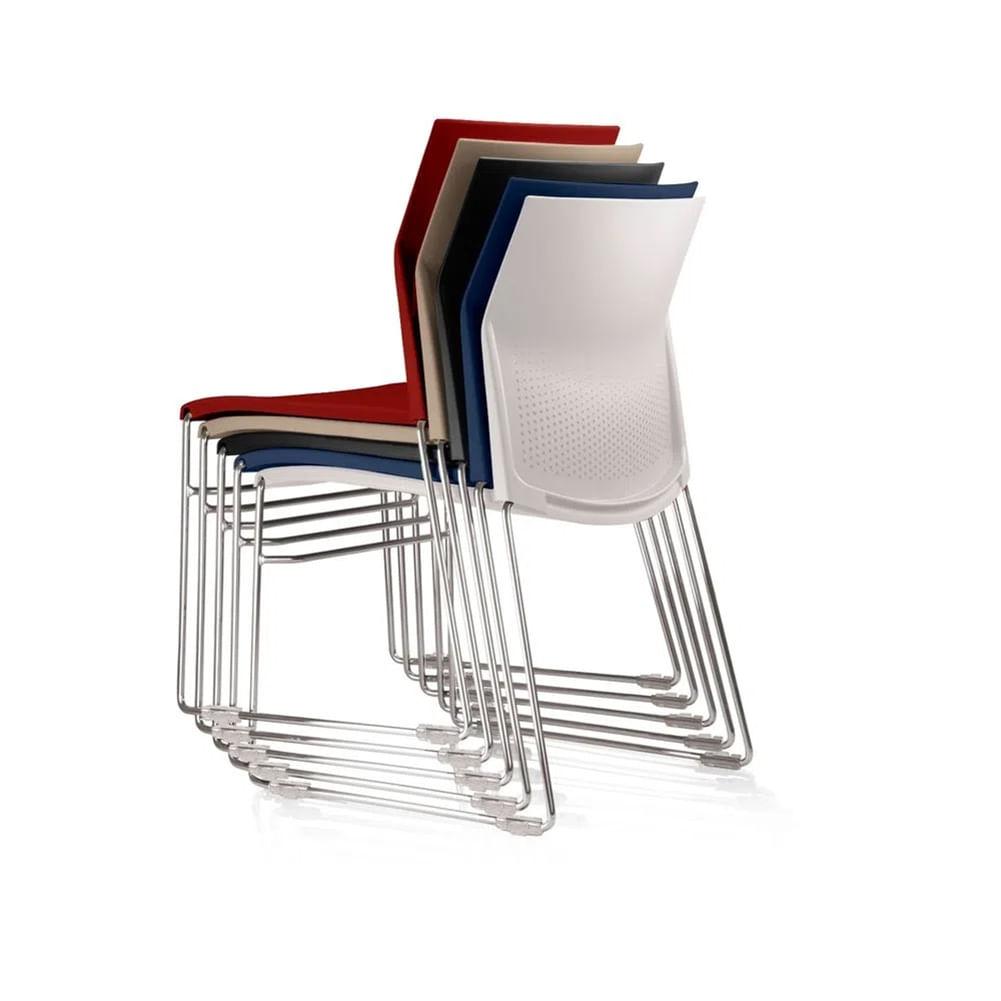Kit 4 Cadeiras Connect Base Fixa Preta - 57596