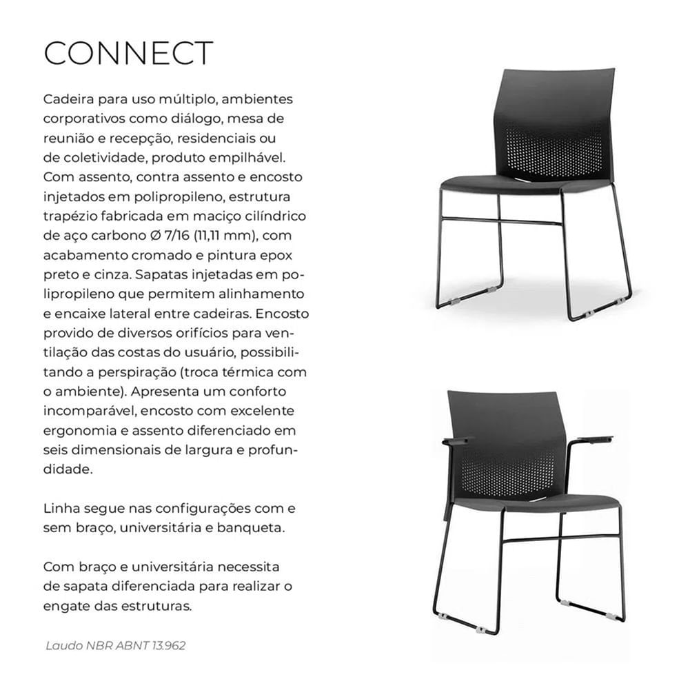 Kit 4 Cadeiras Connect Assento Bege Base Fixa Preta - 57591