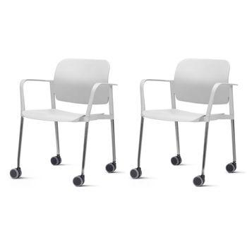 Kit-2-Cadeiras-Leaf-com-Bracos-Assento-Branco-Base-Rodizio-Cromado---57390
