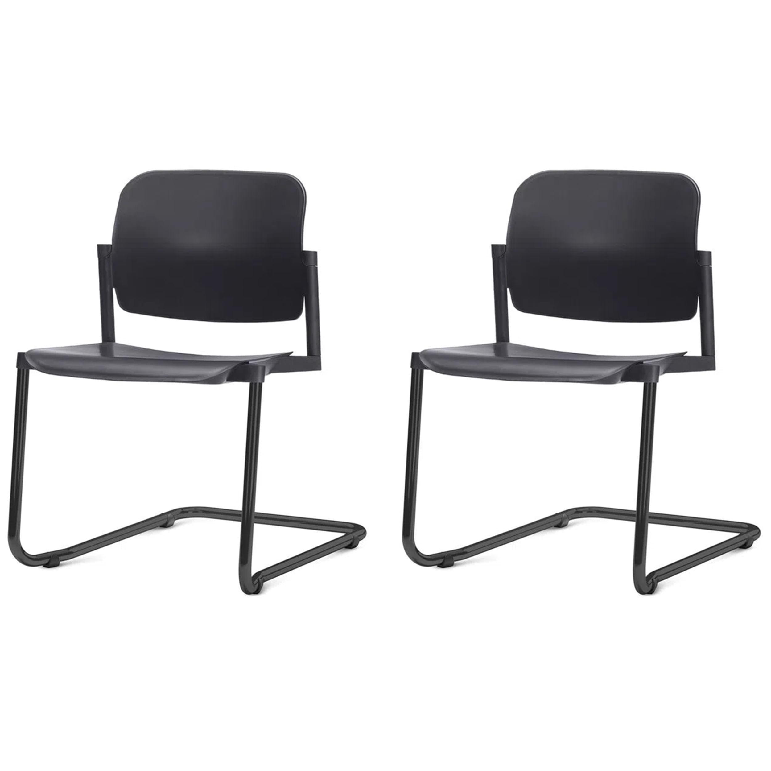 Kit 2 Cadeiras Leaf Base Fixa Preta - 57400