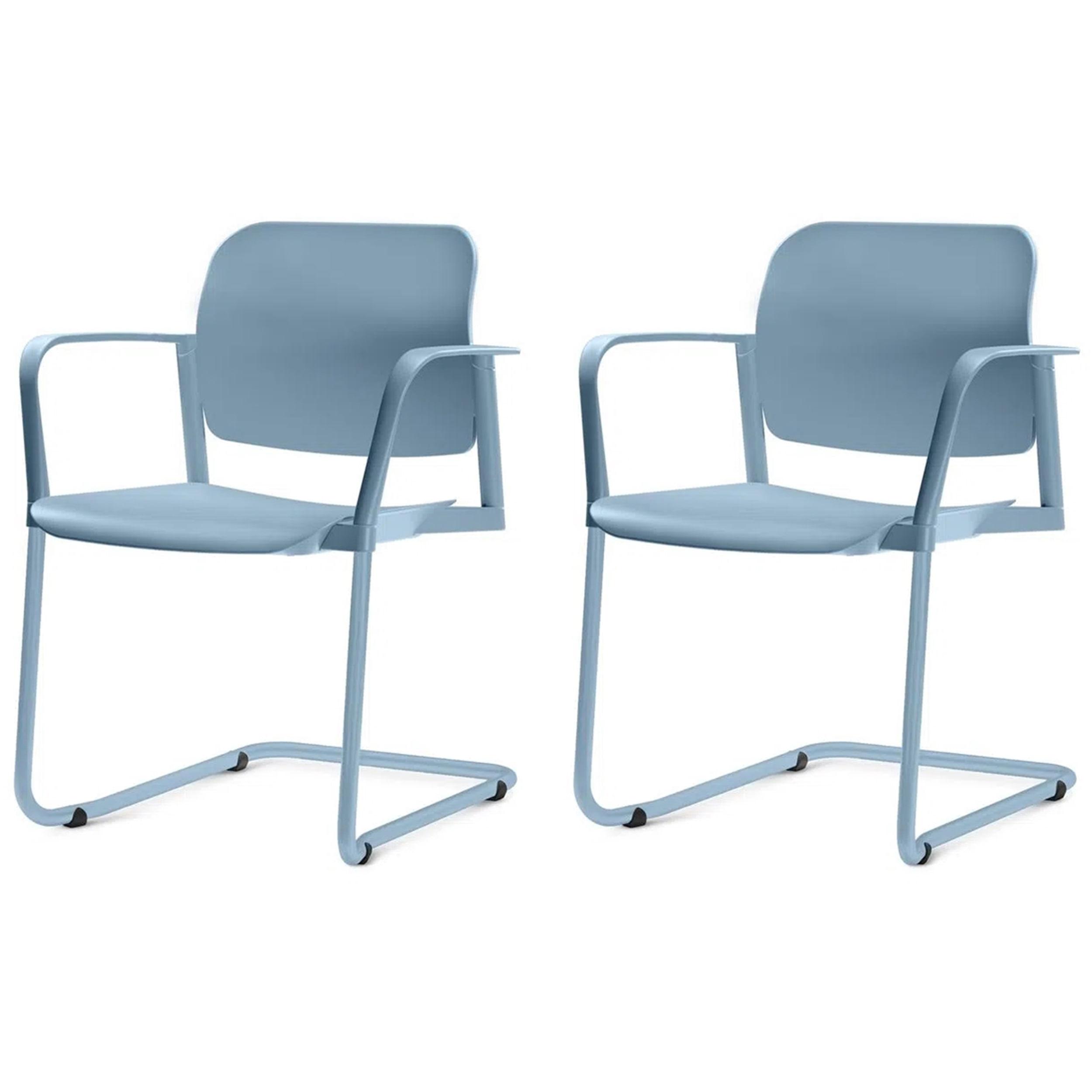 Kit 2 Cadeiras Leaf com Bracos Base Fixa Azul - 57404