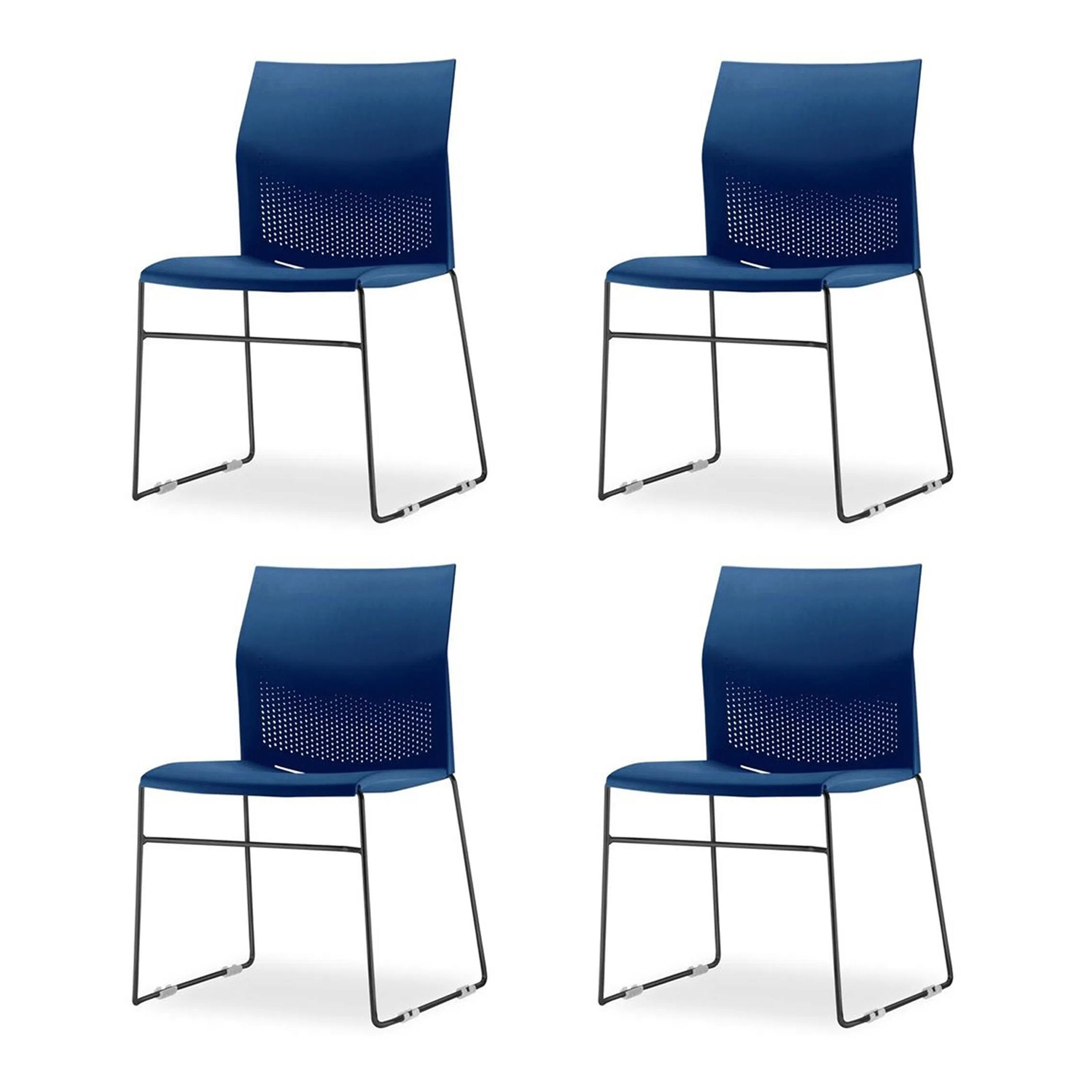 Kit 4 Cadeiras Connect Assento Azul Base Fixa Preta - 57588