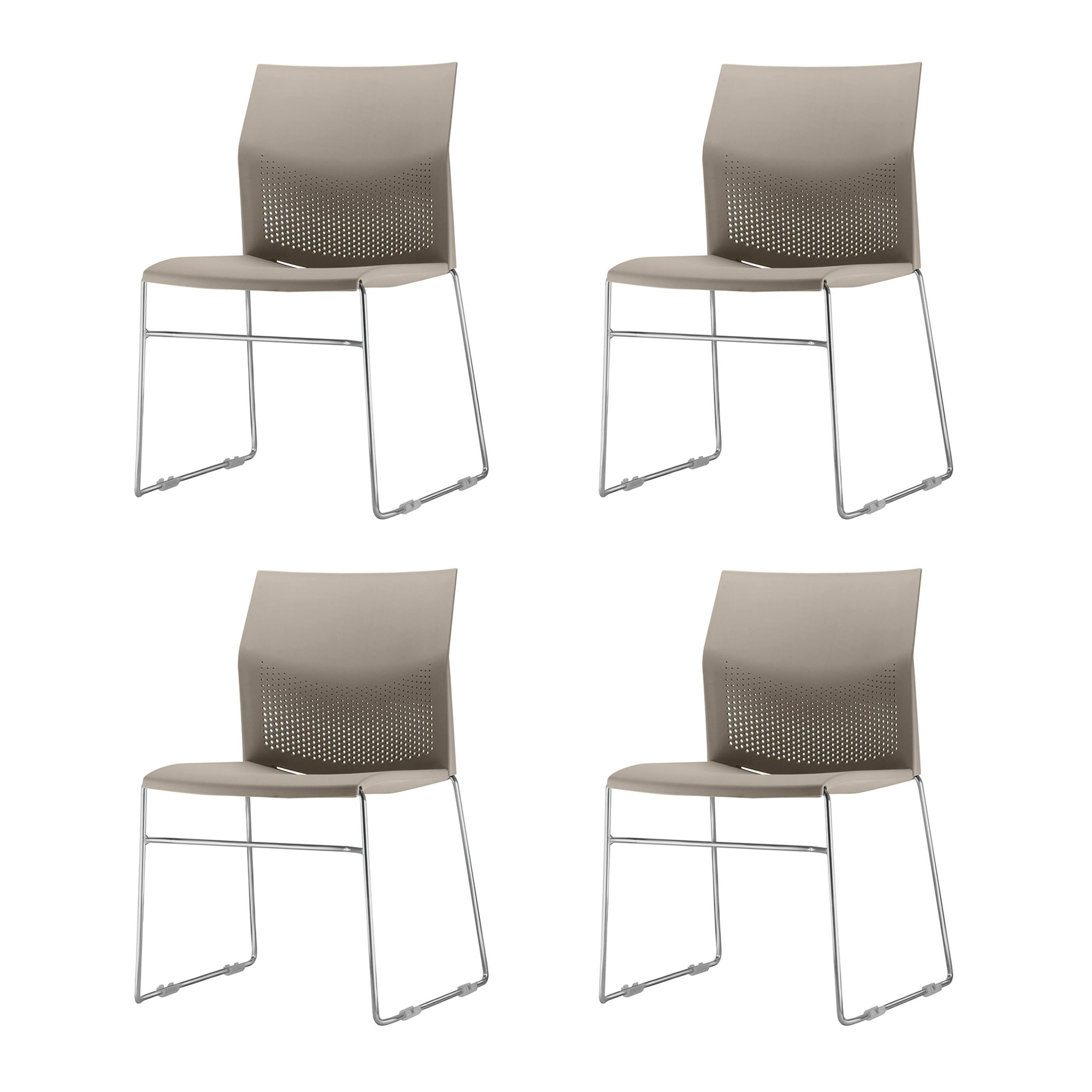 Kit 4 Cadeiras Connect Assento Bege Base Fixa Cromada - 57590