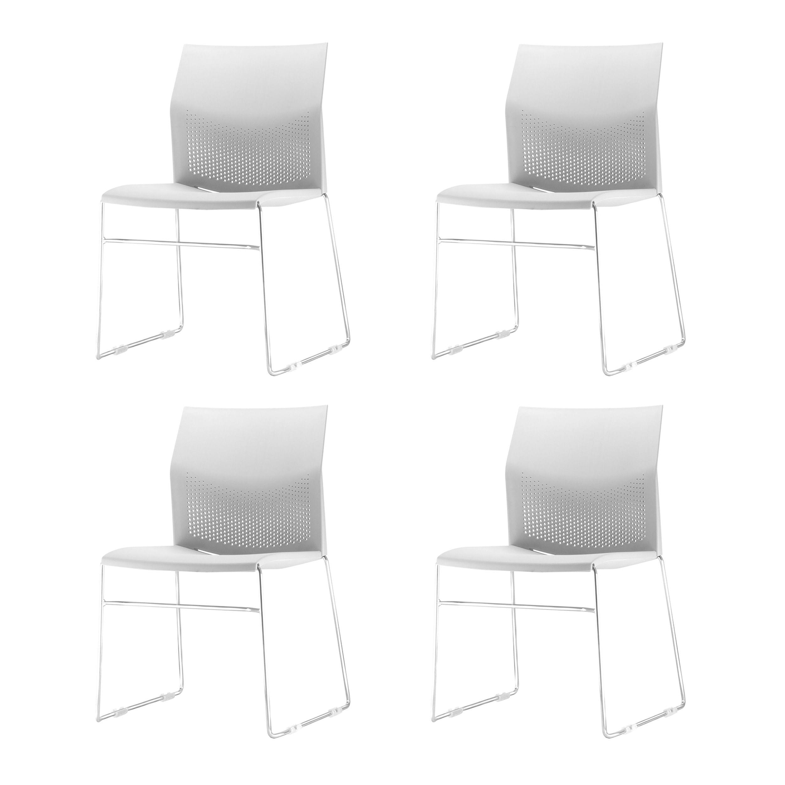 Kit 4 Cadeiras Connect Assento Branco Base Fixa Cromada - 57593