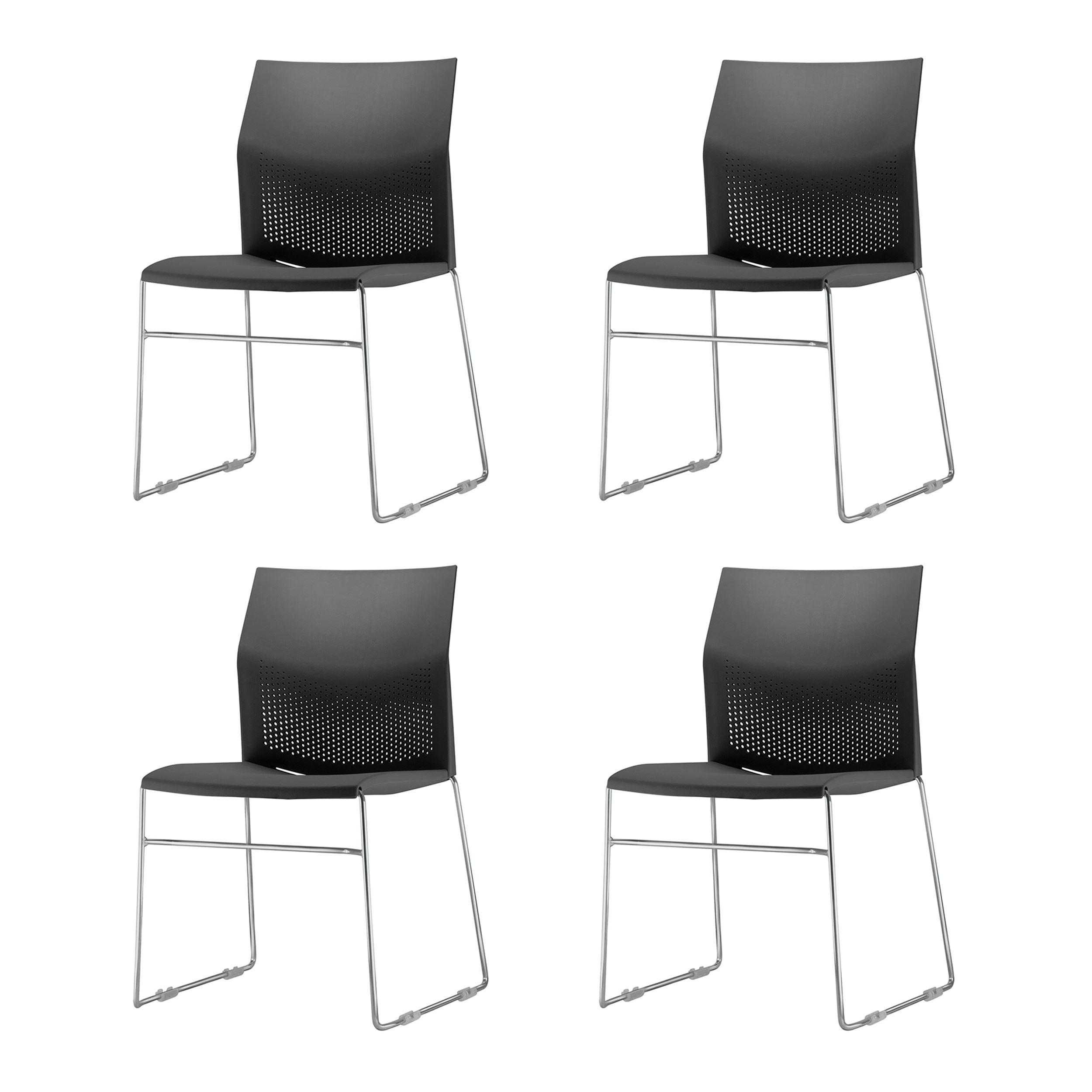 Kit 4 Cadeiras Connect Assento Preto Base Fixa Cromada - 57595
