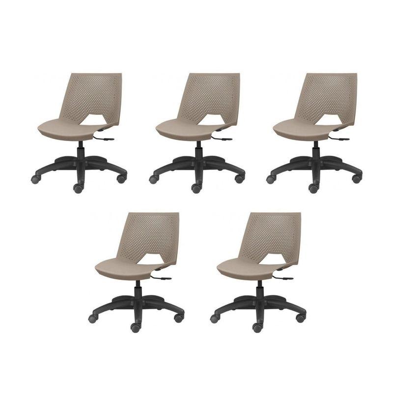 Kit-5-Cadeiras-Strike-Assento-Bege-Base-Rodizio-Preta---57637