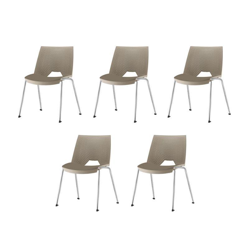 Kit-5-Cadeiras-Strike-Assento-Bege-Base-Cromada---57641