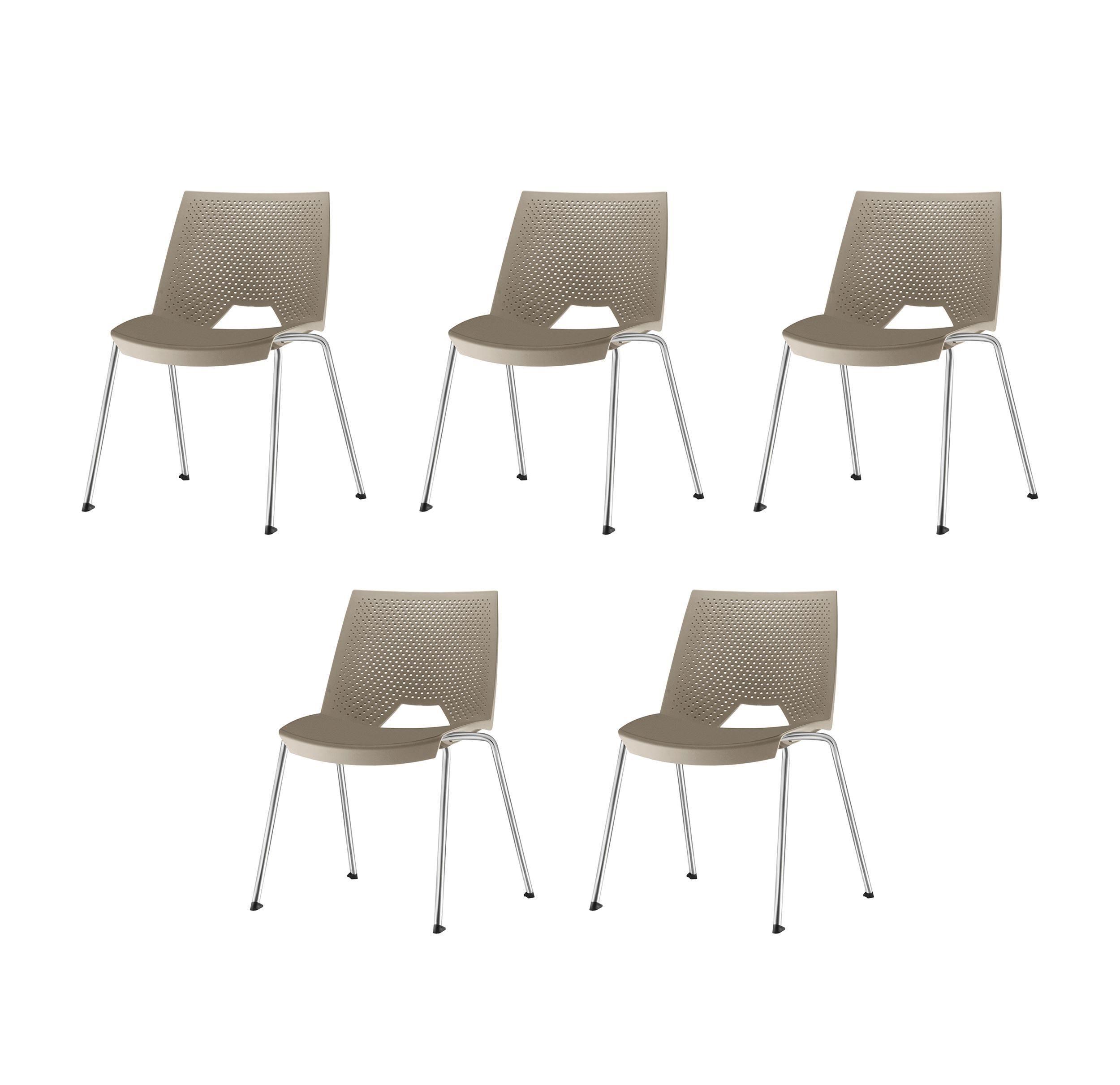 Kit 5 Cadeiras Strike Assento Bege Base Cromada - 57641