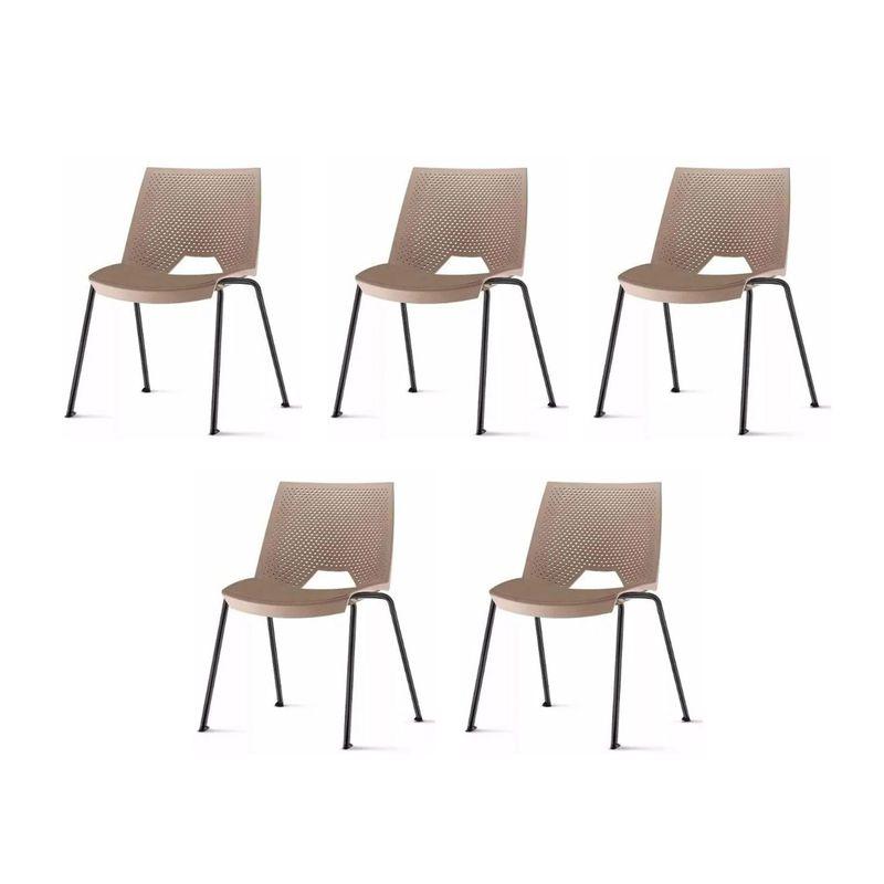 Kit-5-Cadeiras-Strike-Assento-Bege-Base-Preta---57642-