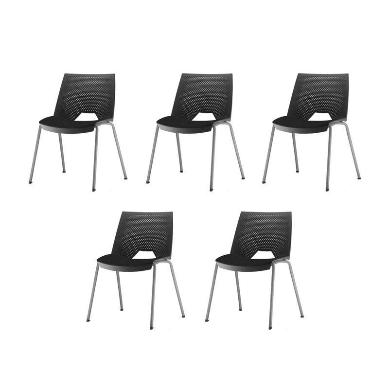 Kit-5-Cadeiras-Strike-Assento-Preta-Base-Cinza---57644