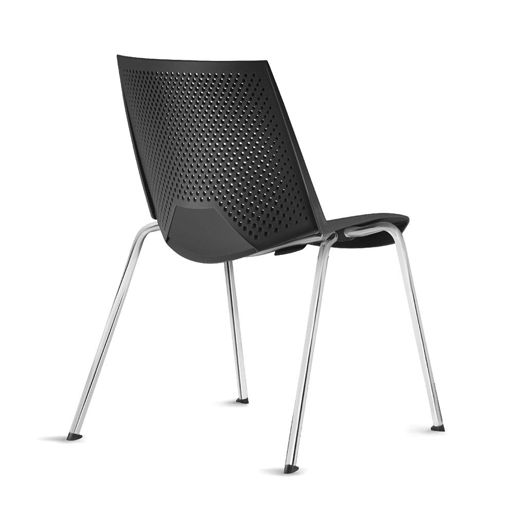 Kit 5 Cadeiras Strike Assento Preto Base Cromada - 57684