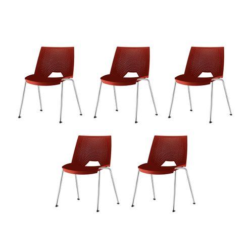 Kit-5-Cadeiras-Strike-Assento-Vermelho-Base-Cromada---57685