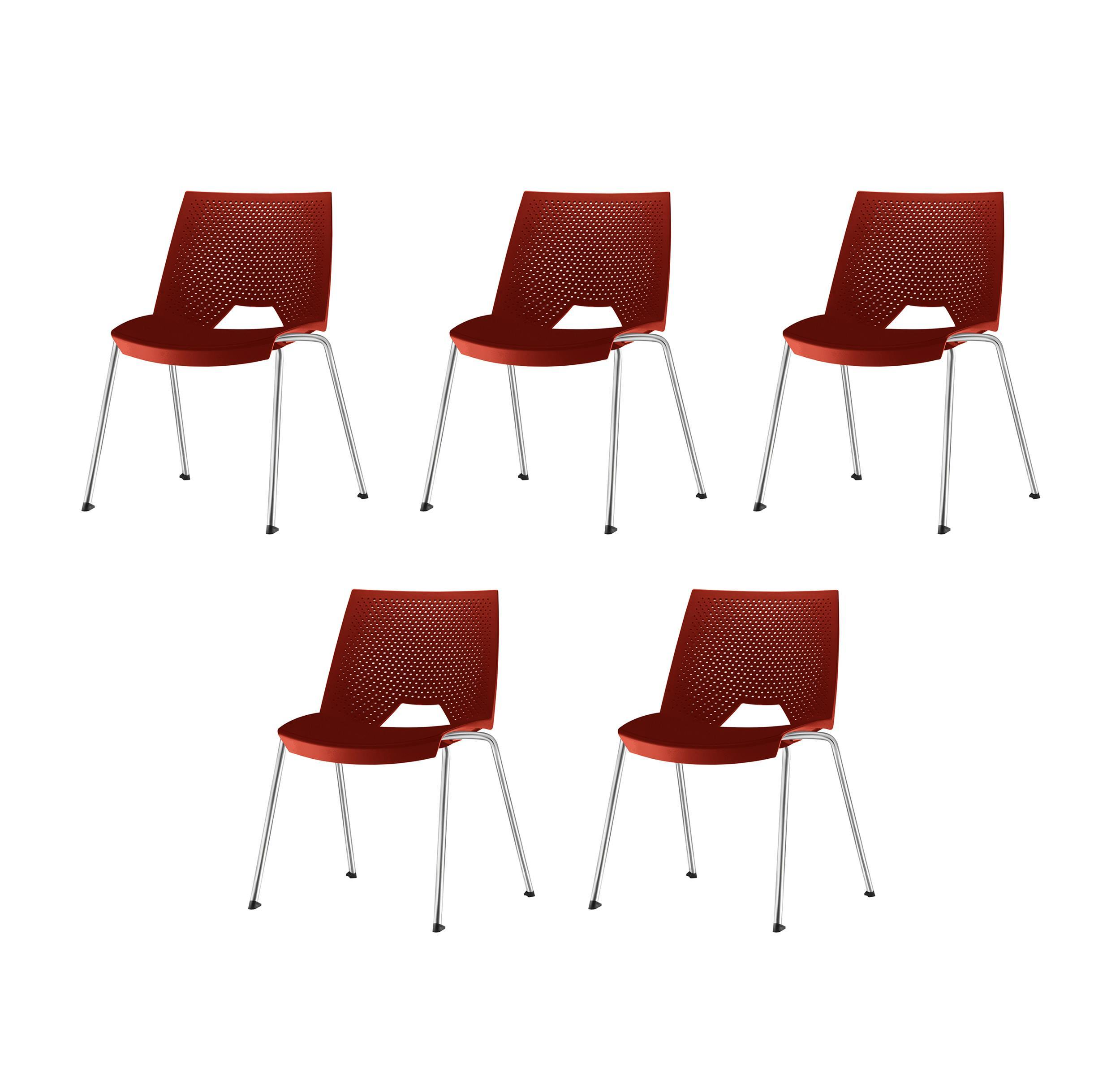 Kit 5 Cadeiras Strike Assento Vermelho Base Cromada - 57685